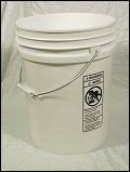 5.5 Gallon   Open Head White  Heavy Duty  Plastic   Pail