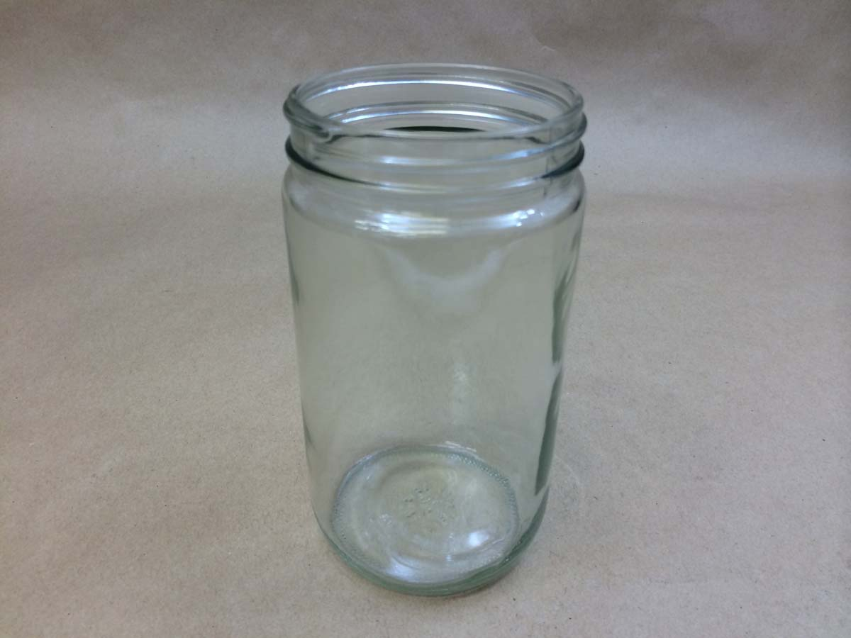 32 oz.   89 400 Flint/Clear  Straight Sided Round  Glass   Jar