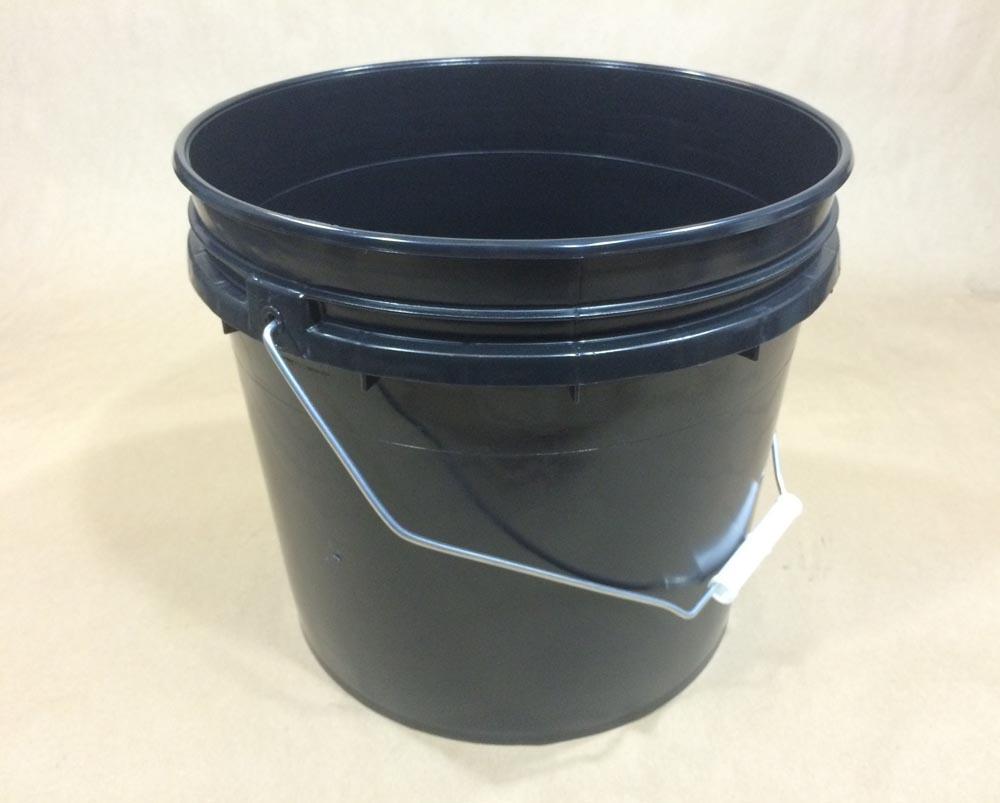 3.5 Gallon   Open Head Black  Heavy Duty  Plastic   Pail