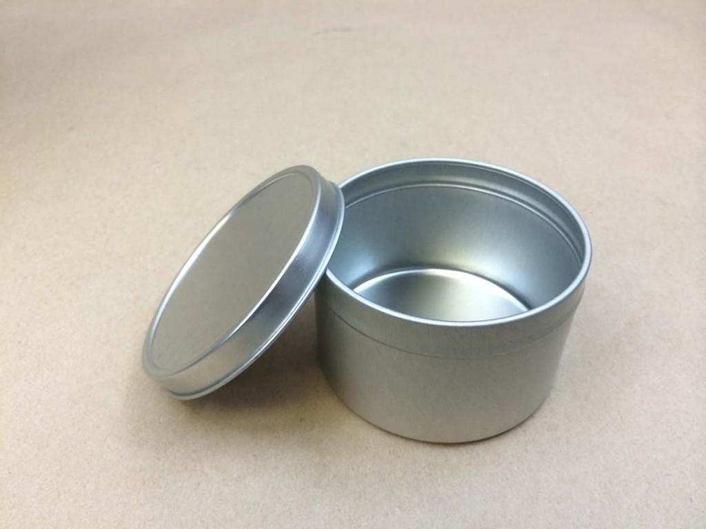 8 oz.   Open Head Silver  Slip Cover  Tin   Can