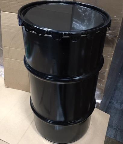 16 Gallon   Open Head Black  Round  Steel   Grease Drum
