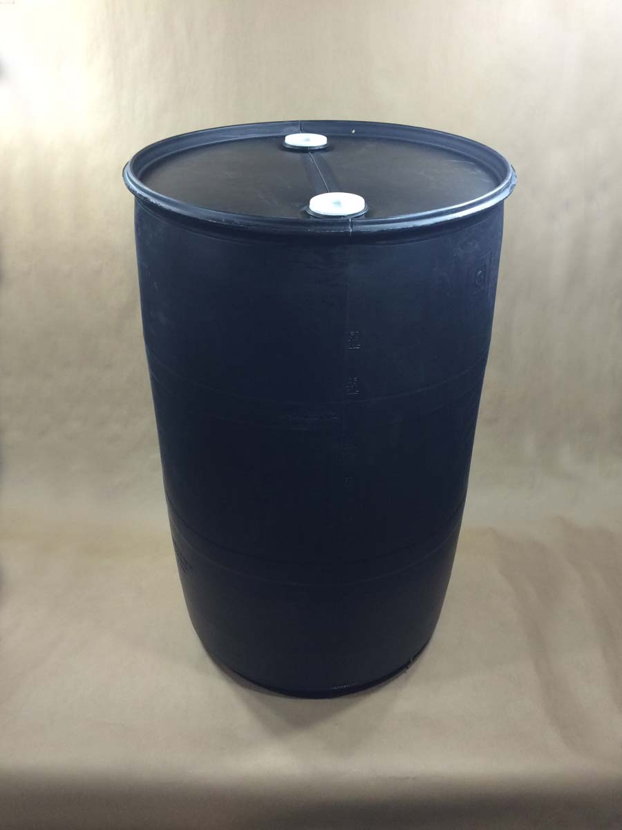 55 Gallon   2 2 Inch Buttress Plugs Black  Closed Top Round  Plastic   Drum