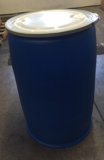 57 Gallon   Open Head Blue  Round  Plastic   Drum