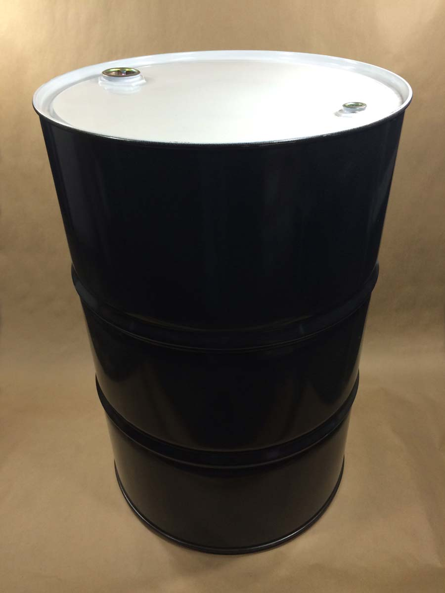 55 Gallon   Tight Head With 2 x 3/4 TS PE Gasket Black/White  Round  Steel   Drum