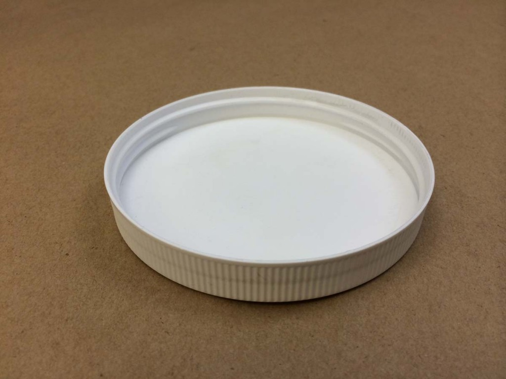 100 400 White  Ribbed Sides/Stipple Top  Plastic   Cap