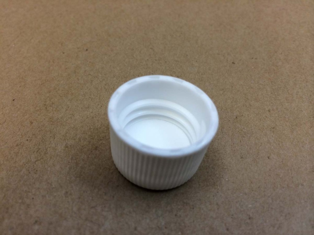 20 410 White  Ribbed Sides/Stipple Top  Plastic   Cap