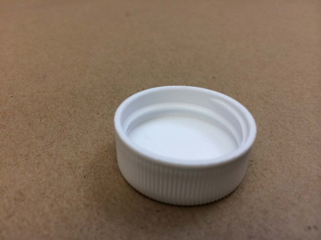 28 400 White  Ribbed Sides/Smooth Top  Plastic   Cap