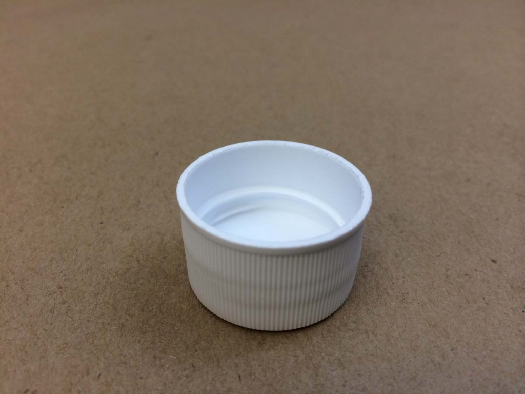 28 410 White  Ribbed Sides/Matte Top  Plastic   Cap
