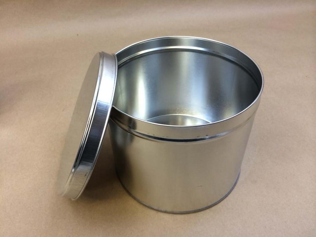 80 oz./5 Lb.   Open Head Silver  Slip Cover  Tin   Can