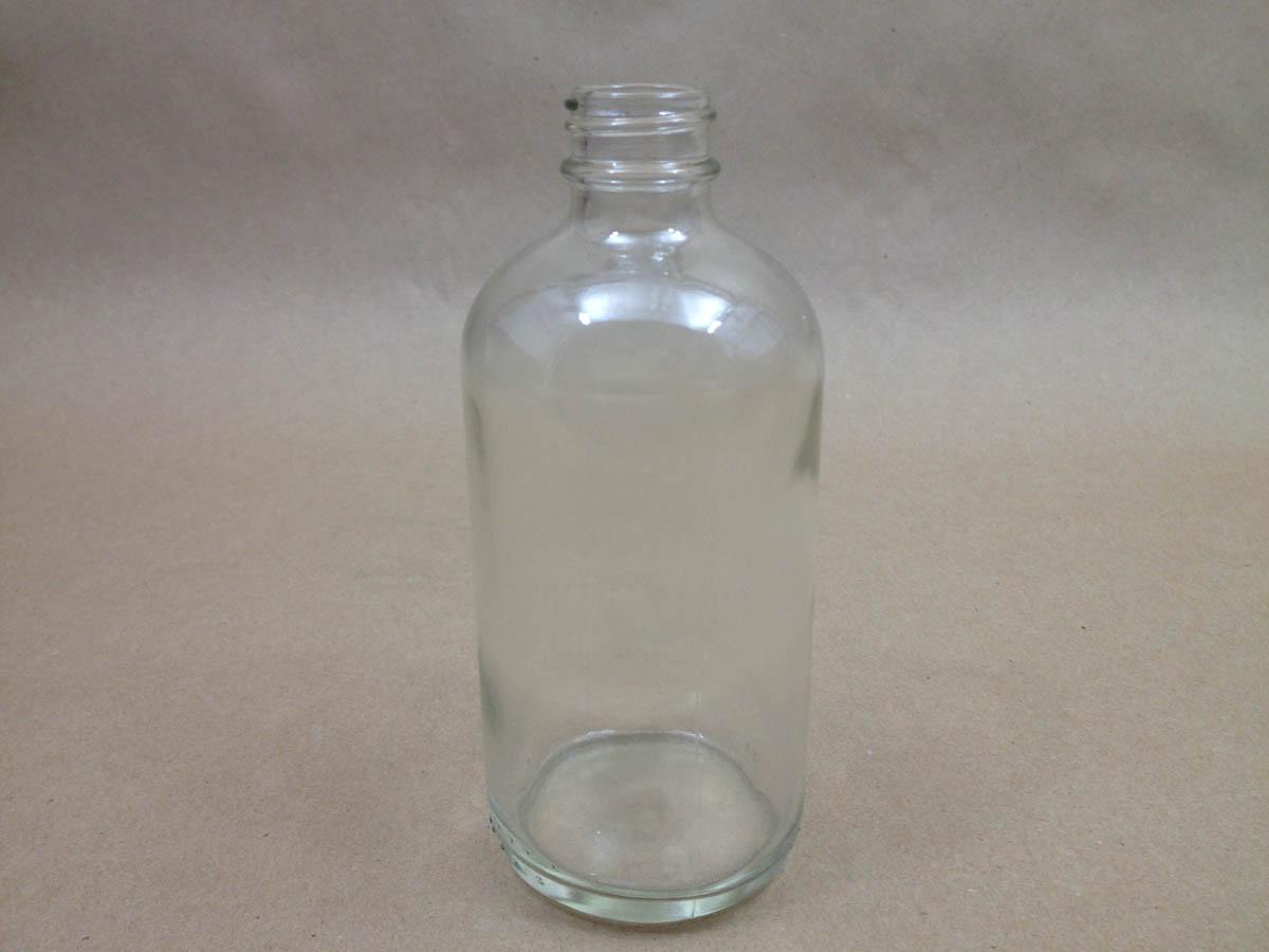 4 oz.   22 400 Flint/Clear  Boston Round  Glass   Bottle