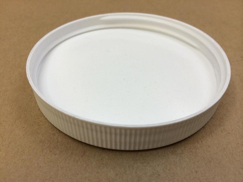 89 400 White  Round Ribbed Edge/Stipple top  Plastic   Cap