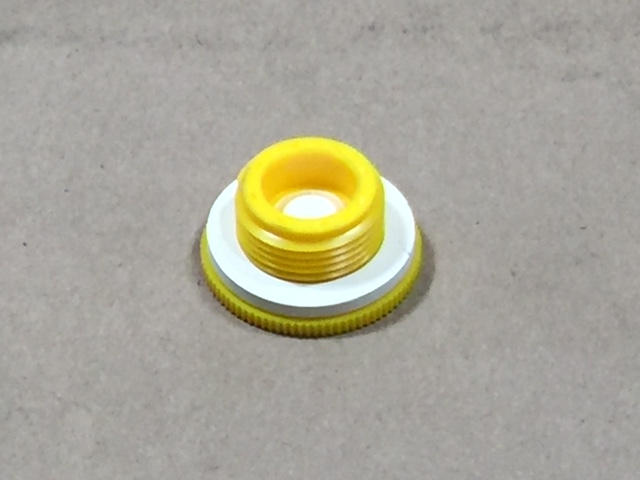3/4 Inch    Yellow  Round  Plastic   Yellow Vent Plug - EPDM Gasket - Fine Thread