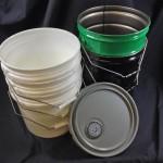 plastic buckets, plastic pails, metal buckets, steels pails, spouted metal cover