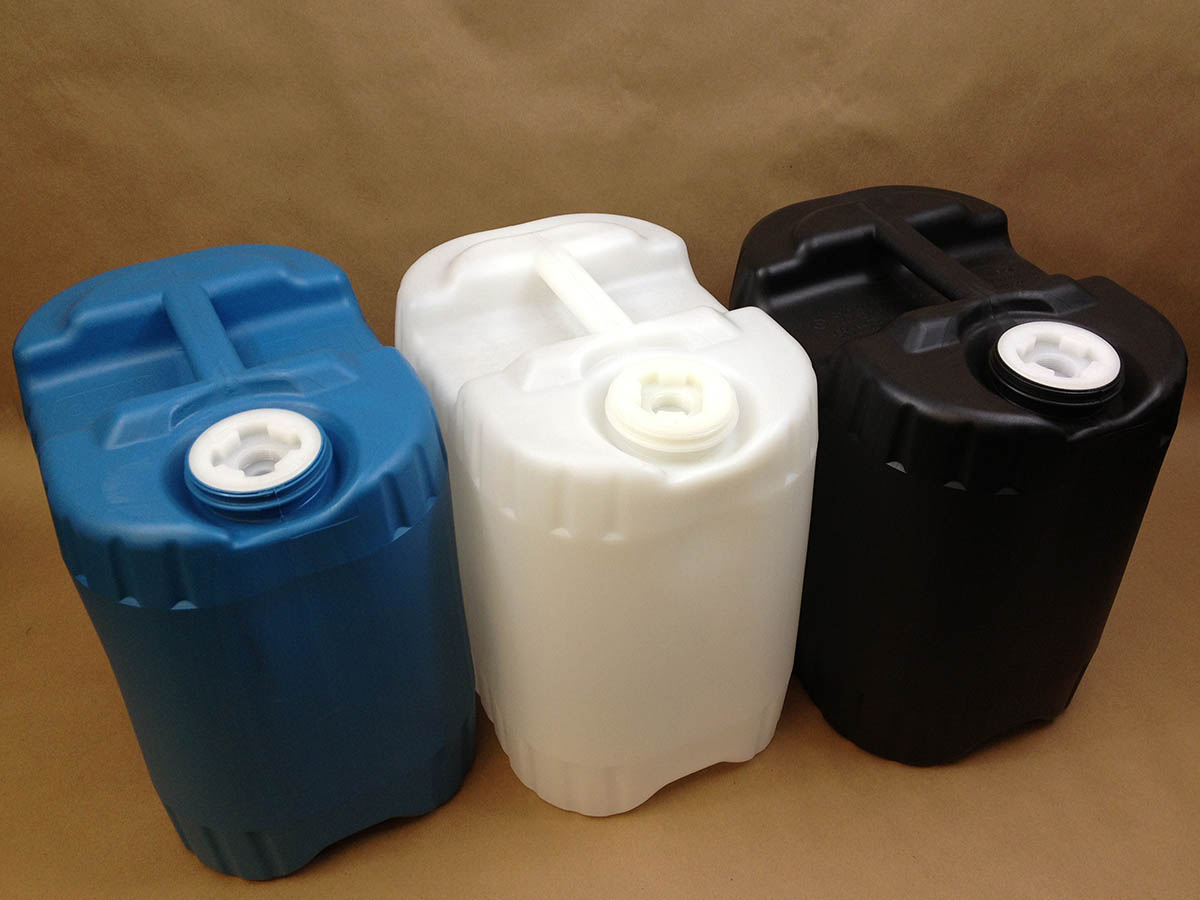 5 gallon drums, plastic tighthead pails, carboys, jerricans