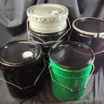 nested steel pails and metal buckets, dish covers, leverlock rings, polyethylene lined steel pails, spouted covers