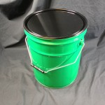 green steel pails, gasketed dish cover