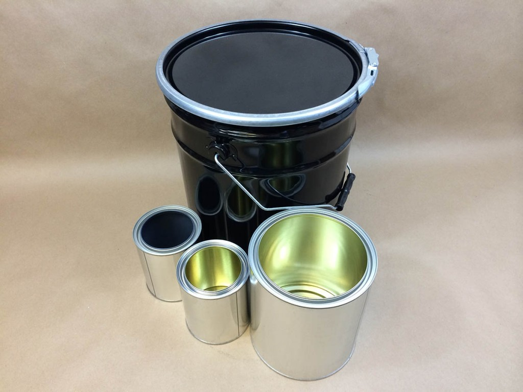 metal cans and metal buckets