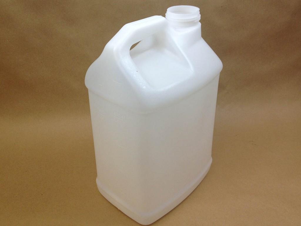 2.5 gallon plastic jug without cap showing graduation marks.