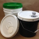 5 gallon buckets, 3.5 gallon buckets, spouted plastic covers, screw cap covers, teartab covers