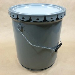 5 Gallon Gray Straight Sided Steel Pail – Clear(Gold) Phenolic Lining – UN Rated