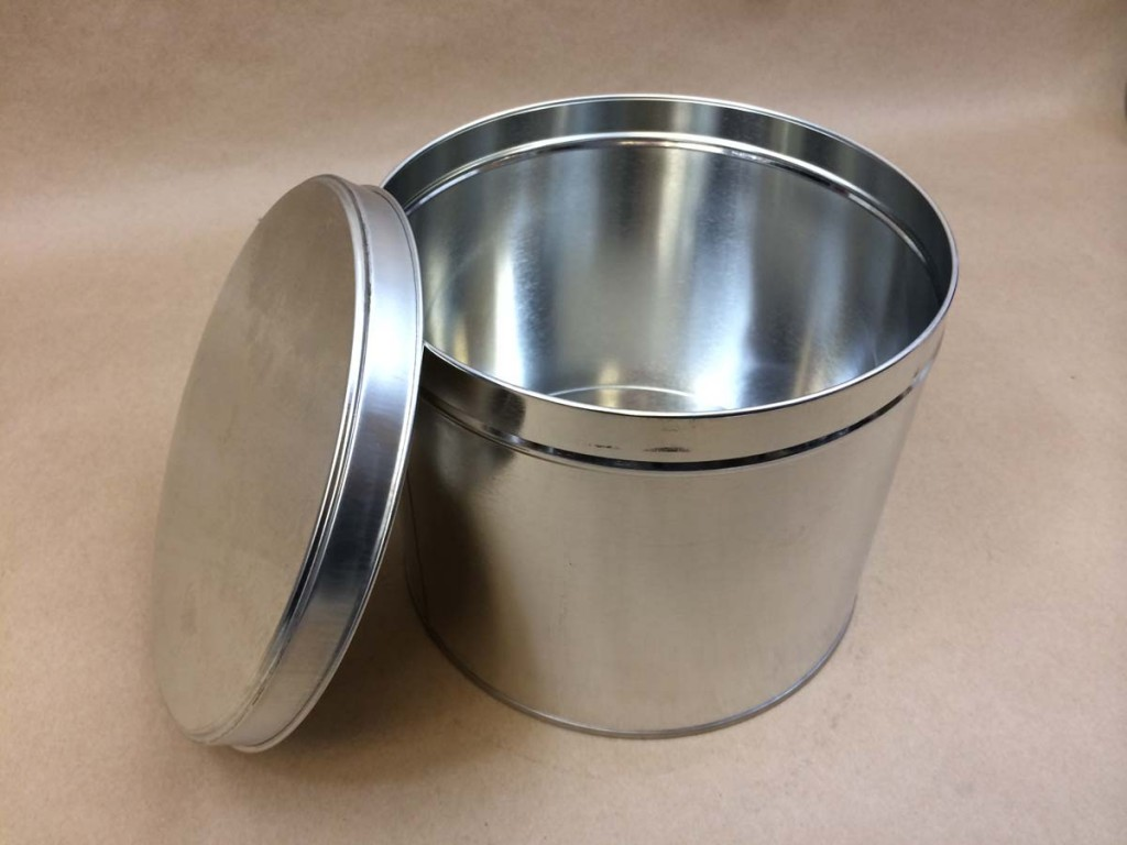 10 lb can, metal can, slip cover tin, metal can with slide on cover
