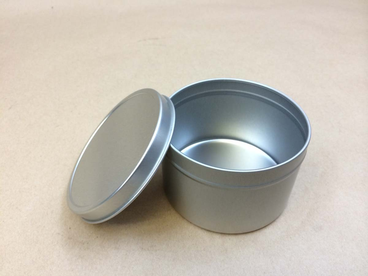 metal can with slip on cover, slip cover can, metal tin, tin can