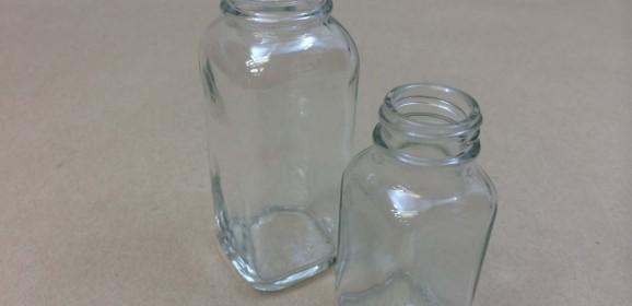 Powder Square Glass Jars