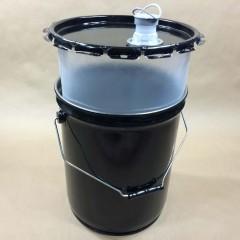 5 Gallon Black Steel UN Rated Composite Pail with Flexspout for Corrosive Liquids